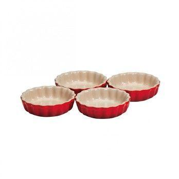 Le Creuset - Le Creuset Tarte Form 4er Set - kirschrot/glänzend/Auch für Mikrowelle & Gefrierschrank geeignet/backofengeeignet