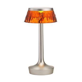 Flos - Bon Jour Unplugged LED Tischleuchte matt - bernstein/Schirm: Kunststoff/H 27cm/ Ø 10,3 cm/Gestell Chrom matt