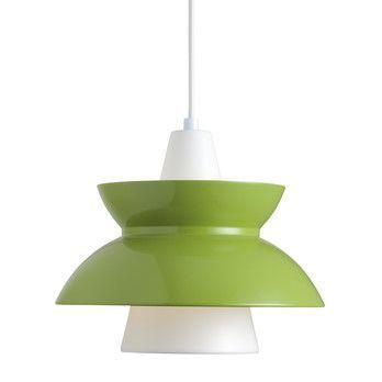 Louis Poulsen - Doo-Wop Pendelleuchte - grün/innen pulverbeschichtet/Kabel weiß/H 24.5cm/Ø 28.3cm