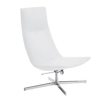Arper - Catifa 70 2026 Lounge Sessel - weiß/Weichleder Pelle Fiore 001/Gestell Aluminium/Rückstell- und Schwingmechanismus