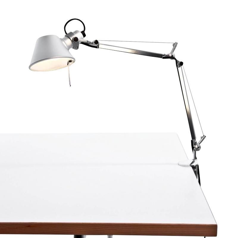 Artemide Tolomeo Micro Led Office Lamp Aluminium Polished Anodised With Table