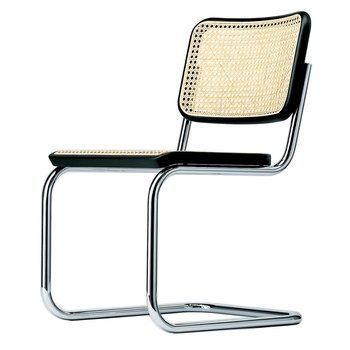Thonet - S 32 Cantilever Chair - black TP 29 stained beech/cane/frame chrome