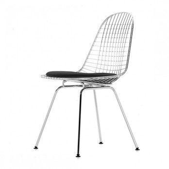 - Eames Wire Chair DKX-5 Stuhl H43cm - schwarz/glanzchrom/Stoff Hopsak 66/mit Filzgleitern in basic dark schwarz/neue Höhe