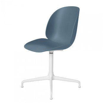 Gubi - Beetle Dining Chair Drehstuhl Kreuzgestell Weiß - blau grau/Sitz Polypropylen-Kunststoff/BxHxT 50x87x58cm/Gestell weiß
