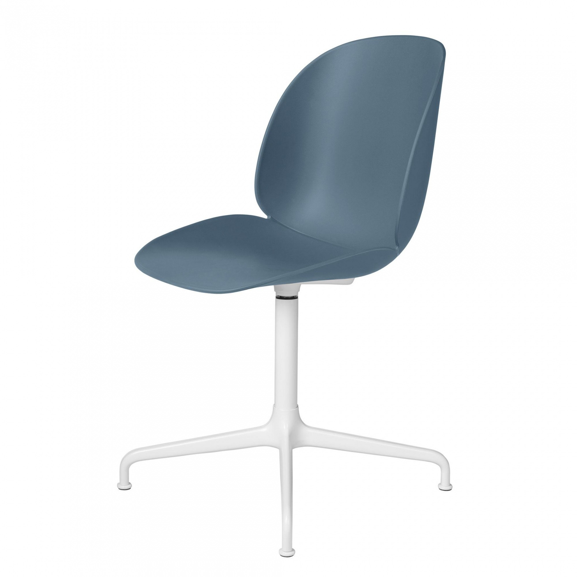 Gubi   Beetle Dining Chair With White Cross Swivel Base   Blue Grey/seat  Polypropylene