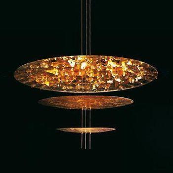 Catellani & Smith - Macchina Della Luce C LED Pendelleuchte - gold/Messing Stäbe/2600K-2800K/4410lm/CRI80/Scheiben Ø120cm/Ø80cm/Ø50cm/inkl. Dimmer