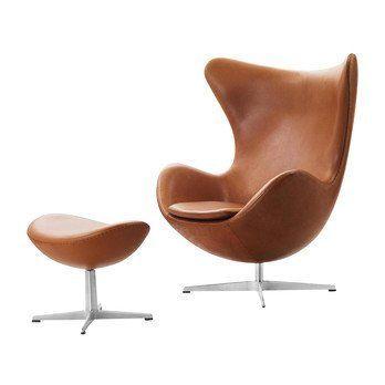 Fritz Hansen - Aktion Egg Chair/Das Ei Sessel + Fußhocker Leder - walnuss/Gestell Aluminium/Elegance Leder/Fußhocker: LxBxH 56x40x37cm