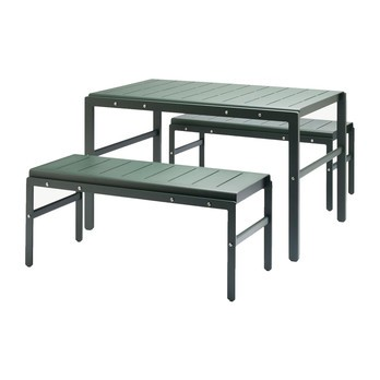Skagerak - Reform Garden Set of 3 Table With Benches - hunter green
