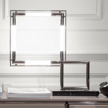 Lumen Center Italia - Quadro VII Re-Edition LED Tischleuchte - palladium/glänzend/2700K/2000lm/mit Dimmer