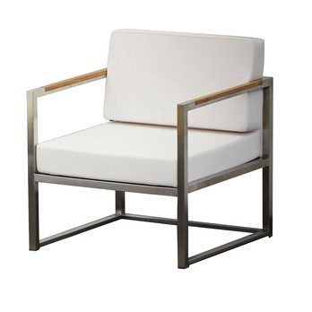 Jan Kurtz - Lux Lounge Outdoor Armchair - white/frame stainless steel/fabric 100% polyacryl/WxHxD 62x62x67cm/stainless steel frame