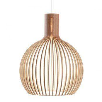 Secto Design - Octo 4240 Pendelleuchte - walnuss natur/Furnier/inkl. LED-Birne 2800K/1055lm/Kabel/Baldachin weiß