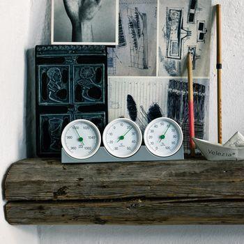 - Meteo Wetterstation - weiß/Ablage: grau/L x B: 19 x 6,5cm/Thermometer/Luftfeuchtigkeitsmesser ,Luftdruckmesser