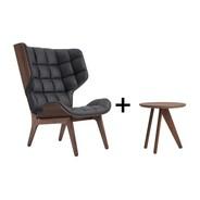 NORR 11 - Aktionsset Mammoth Sessel Leder + Fin Beistelltisch