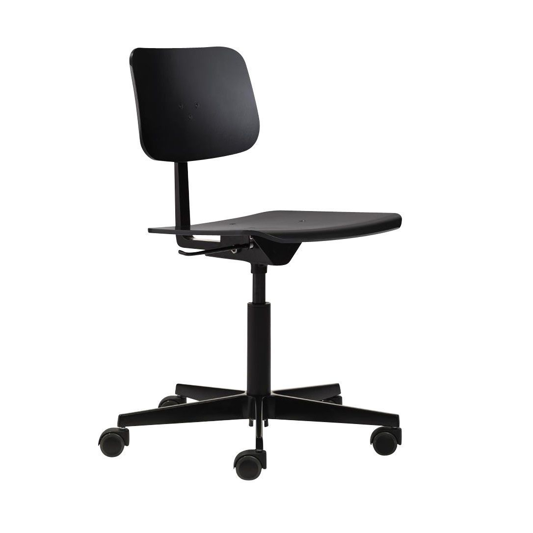 chair with wheels. richard lampert - mr. square swivel chair with wheels black ral 9005/lacquered e