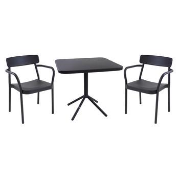 emu - Grace Gartenset - schwarz/pulverbeschichtet/2 Stühle : BxHxT 58x78x52cm/Tisch: LxBxH 80x80x74cm