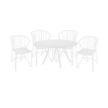 Fermob - 4 Armlehnstühle Flower + 1 Rendez-vous Tisch - baumwoll weiß/lackiert/Tisch rund ø110cm
