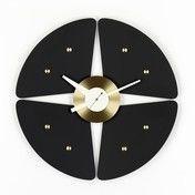 Vitra - Petal Clock Nelson Wanduhr - schwarz/messing/Ø44.8cm