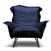 Diesel - Cloudscape Sessel - dunkelblau/Leinen/Polsterung: Kaltschaum feuerhemmend/Stahlgestell, schwarz lackiert