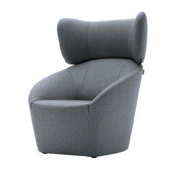 freistil Rolf Benz - freistil 178 Sessel mit Kopfstütze - blaugrau/Stoff 1073 (100% Polyester)
