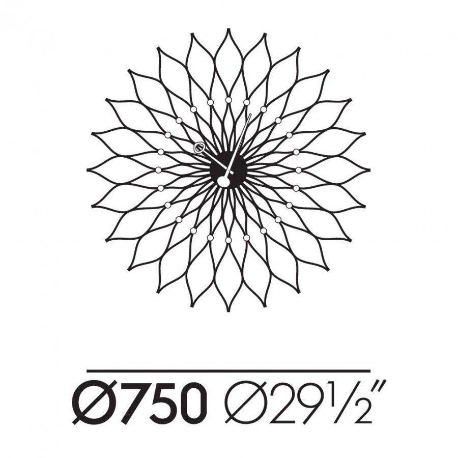 sunflower clock nelson  vitra  ambientedirectcom - vitra  sunflower clock nelson  line drawing