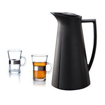 Rosendahl Design Group - Aktionsset Isolierkanne + 2 Hot Drink Gläser - schwarz/Kanne schwarz 1L/2 Gläser 24cl geschenkt!