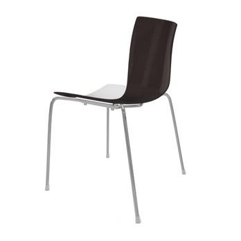 Arper - Catifa 46 0251 Stuhl zweifarbig Gestell Chrom - weiß/braun/Außenschale glänzend/innen matt/Gestell verchromt