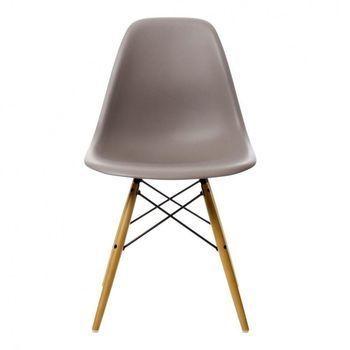 Vitra - Eames Plastic Side Chair DSW Stuhl H43cm - mauve grau/Gestell Ahorn gelblich/mit Filzgleitern/neue Höhe