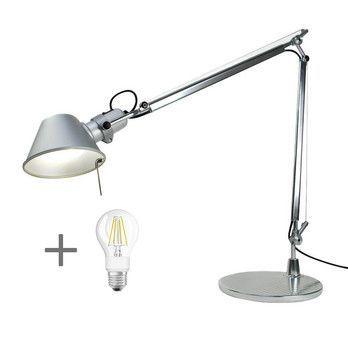 Artemide - Aktionsset Tolomeo Tavolo + LED  - aluminium/eloxiert/poliert/BxH 78x64.5cm/mit Tischfuß und LED Leuchtmittel