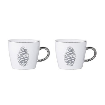 Bloomingville - Frost Tasse 2er-Set - weiß/grau/Metalldekor/H 8cm/Ø 9.5cm
