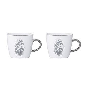 - Frost Tasse 2er-Set - weiß/grau/Metalldekor/H 8cm/Ø 9.5cm