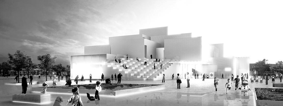 Schwarz-Weiß Motiv mit Gebäude
