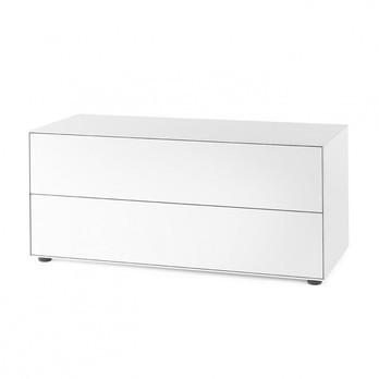 Piure - Nex Pur Box Schubkastenbox/Kommode 120x52.5cm - weiß/MDF matt lackiert/mit Gleitfüße/2 Schubladen