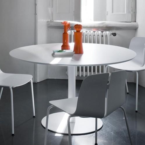 la palma - Rondo 120 Tisch - weiß/Laminat Fenix 0,9/Gestell weiß lackiert/H: 73cm/Ø 120cm