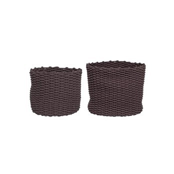 Bloomingville - Bloomingville Textil Korb 2er Set - braun/kleiner Korb: Ø 35,5cm x H 30cm/großer Korb: Ø 46cm x H 38cm