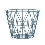 ferm LIVING - Wire Drahtkorb Medium - petrolblau/Ø 50cm / H 40cm