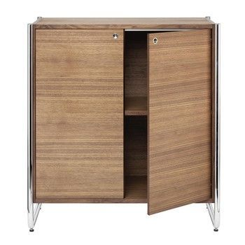 Thonet - Thonet S 290/C103 Sideboard - nussbaum/Gestell Chrom, 2 Türen/83x47x92cm