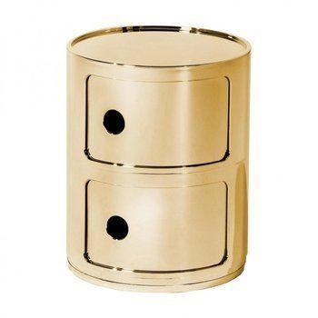 Kartell - Componibili 2 Container - gold/glänzend/H 40cm/ Ø 32cm