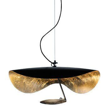 Catellani & Smith - Lederam Manta S1 LED Suspension Lamp - black/gold/rod black/disc gold/2700K/1590lm/CRI80/with dimmer/H 30cm/Ø 60cm