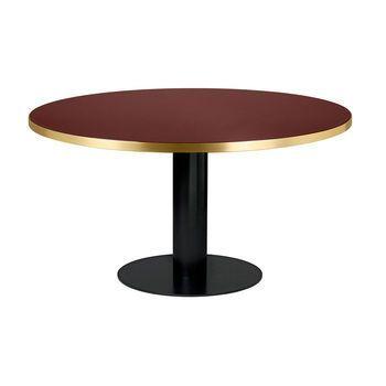 Gubi - 2.0 Dining Table Tisch Gestell Schwarz Ø150cm - kirschrot/Tischplatte Glas/H 74,5cm, Ø150cm/Gestell schwarz