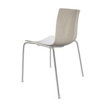 Arper - Catifa 46 0251 Stuhl zweifarbig Gestell Chrom - weiß/elfenbein/Außenschale glänzend/innen matt/Gestell verchromt/neue Farbe