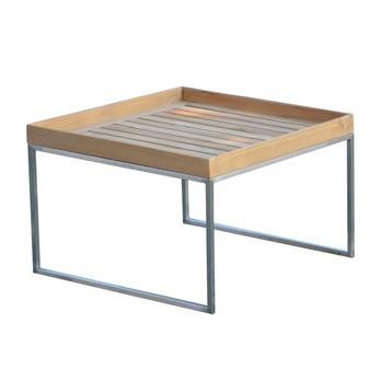 Jan Kurtz - Pizzo 60 Teakholz Garten-Beistelltisch - Teak/Tischplatte Teak abnehmbar/BxHxT 60x40x60cm/Gestell Edelstahl