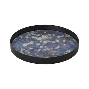 ferm LIVING - ferm LIVING Coupled Tablett rund - blau/schwarz/Gestell Metall pulverbeschichtet/H 3.2cm/Ø 30cm