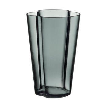 - Alvar Aalto Vase 220mm - dunkelgrau/Glas/mundgeblasen