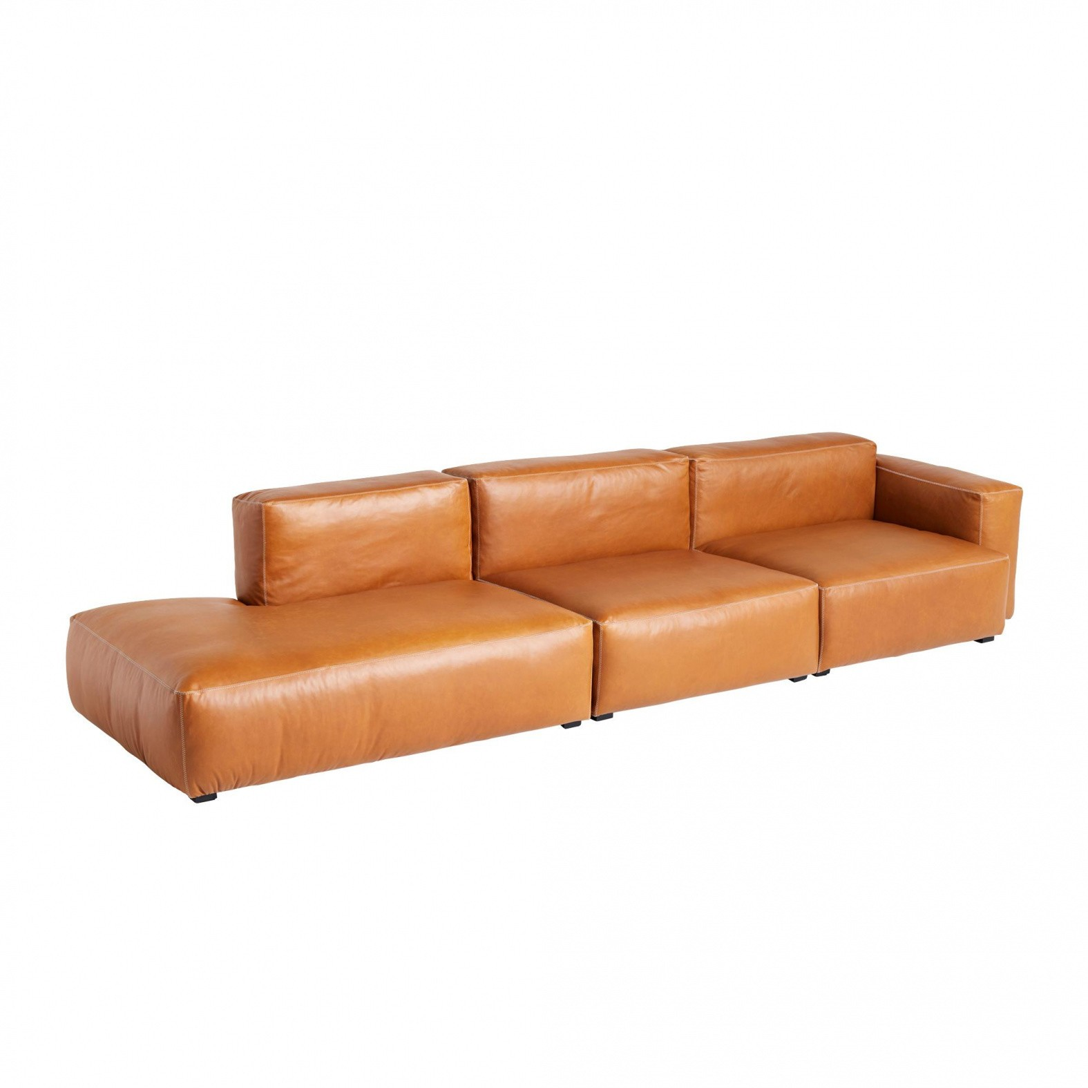 HAY Mags Soft 3 Seater Leather Sofa 338x9.5x67cm   AmbienteDirect