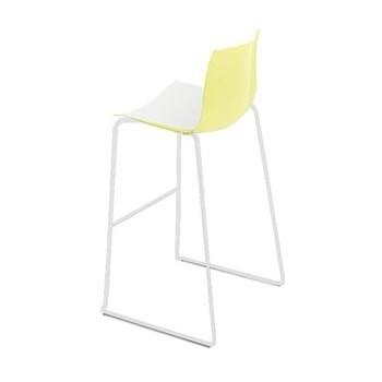 Arper - Catifa 46 0471 Barhocker zweifarbig Gestell weiß - weiß/gelb/Außenschale glänzend/innen matt/Gestell weiß matt V12/Sitzhöhe 76cm/neue Farbe