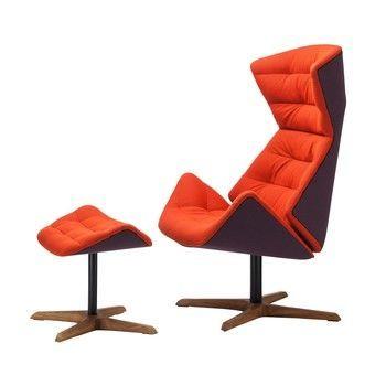 Thonet - Thonet Lounge Set 808 - Tropic - orange/Gestell Eiche geölt/innen: Stoff Rohi Soul 159 tropic/aussen: Rohi Credo cassis