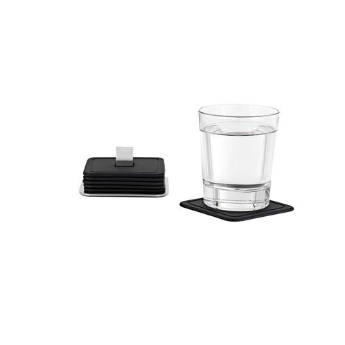 Blomus - Trayan Set 6 Glasuntersetzer - schwarz/matt/silikon/6 Stück/9,5 x 9,5 x 4cm