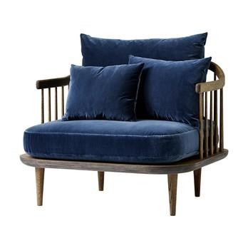 &tradition - FLY Chair SC1 Sessel - blau/Stoff Harald 2 182/Gestell geräucherte und geölte Eiche/inklusive Kissen