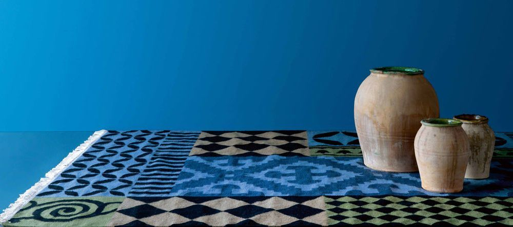 Design-Special Trendfarbe blau Kilim Siracusa GAN