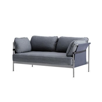 - Can 2-Sitzer Sofa - graublau/Stoff Surface 990/172.4x82x89.5cm/Gestell charcoal/Rück-/Seitenteil Canvas blau